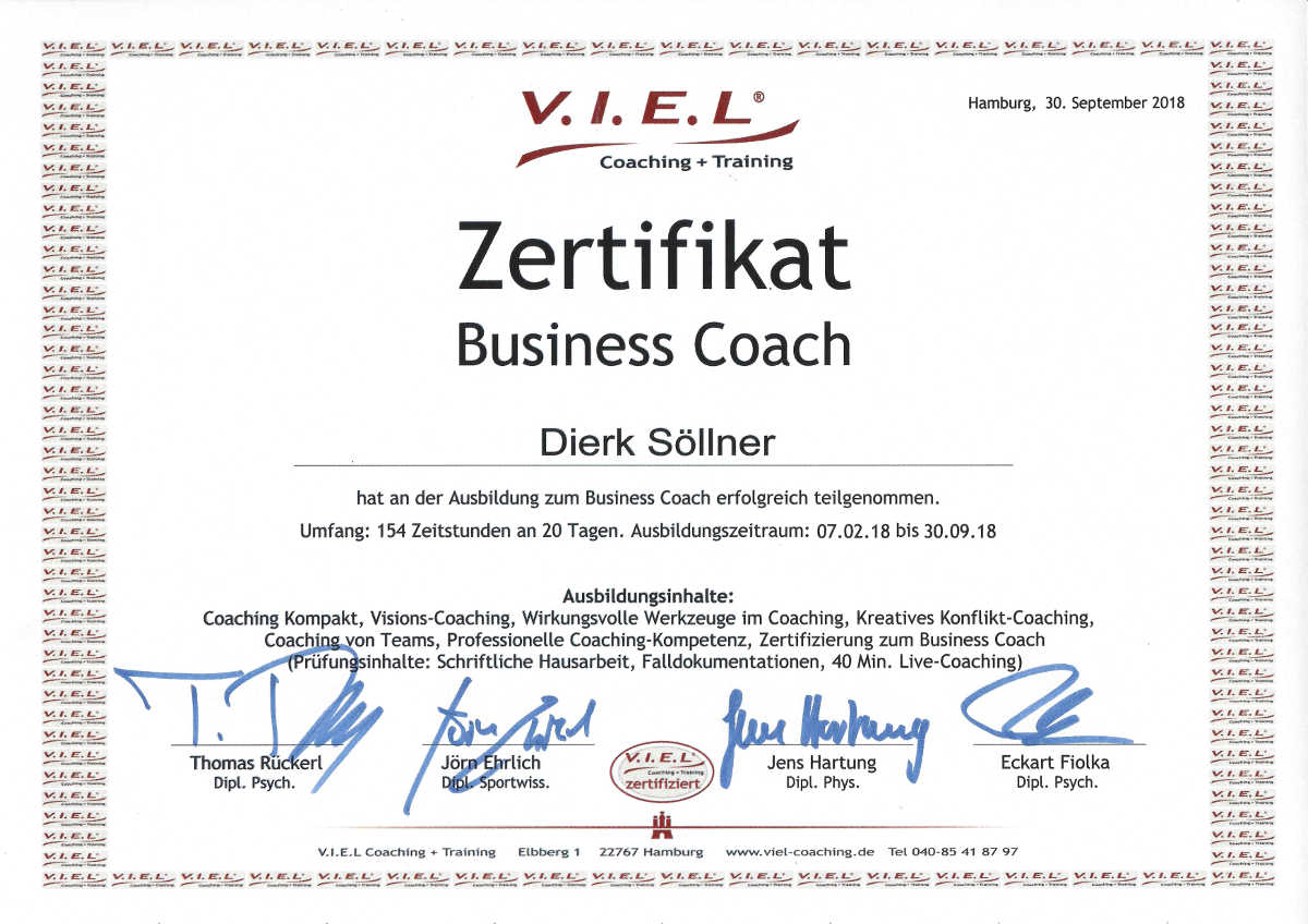 Zertifikat Business Coach V.I.E.L
